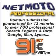 Professional Submission to over 700 Search Engines and Directories like Google, AOL and others; Submission to country-specific Search Engines at no extra charge. Automatic submission for 12 months. Automatic Meta Tag generator. Monthly submission reports directly sent to your Email. Personal Control Panel...